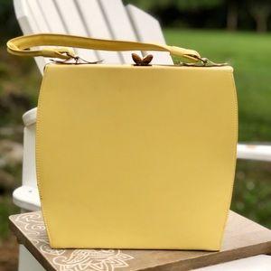 Beautiful Vintage Circa 1950's Pale Yellow Handbag